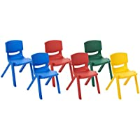 ECR4Kids School Stack Resin Chairs, Assorted Colors (6-Pack)