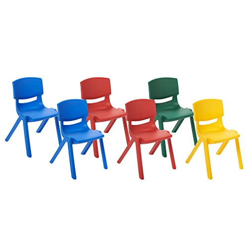 ECR4Kids 10'' School Stack Resin Chair, Assorted Colors (6-Pack) by ECR4Kids