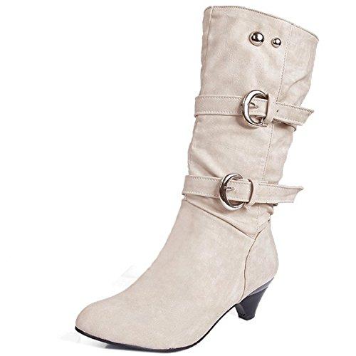 Coolcept Mujer Casual Botas con Tacon Medio Sin Cordones Zapatos Cinturon Beige