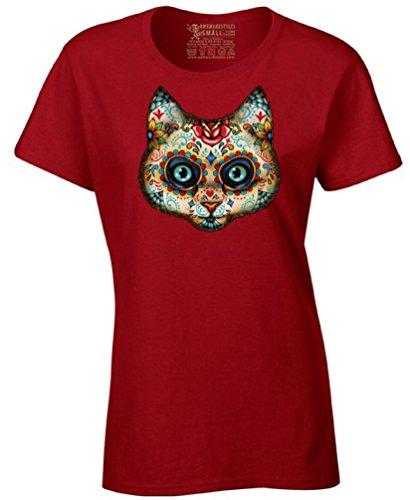 Women's Cat Sugar Skull T-shirt Day of Dead Halloween Shirt + Skull Necklace 3XL Red (Sugar Skull Cat)