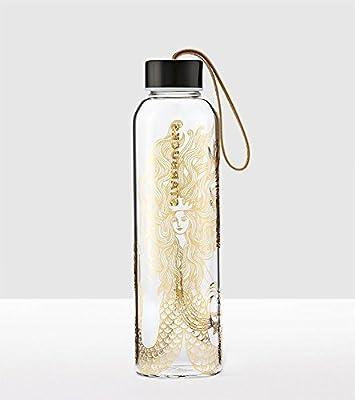 Starbucks Gold Siren Glass Water Bottle with Nylon Strap