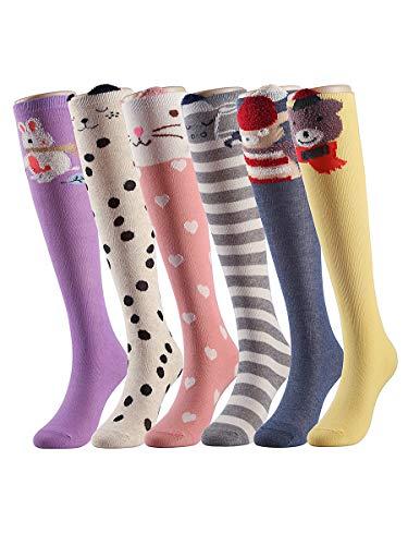 Bear Knee High Socks - Girls Gift Knee High Stockings Cartoon Cotton Socks 6 Colors-SETB One Size