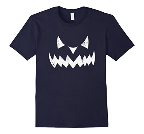 Halloween Costumes For Mother And Daughter (Mens Pumpkin Face JACK O' LANTERN Halloween Simple Costume TShirt Large Navy)