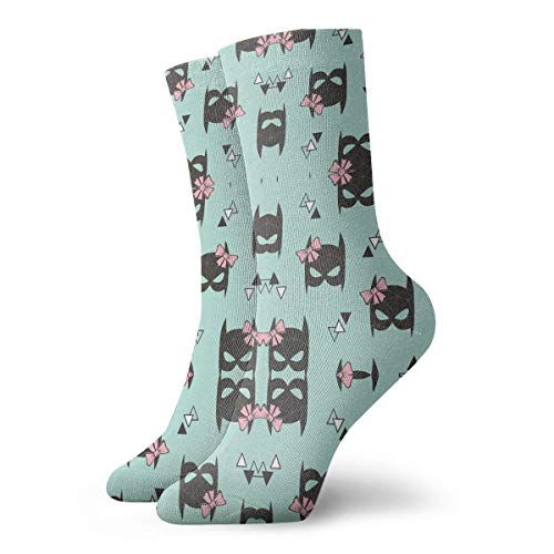 HUSJHD Interesting Socks Girly Geometric Bat Mask with Pink Bow On Mint Gre Women Girl Novelty ()