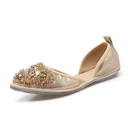 AalarDom Mujer Mini Tacón Material Suave Sólido De salón con Diamantes Sintéticos Gold