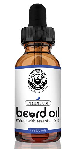 Blue Bird Beard Co. Premium Beard Oil and Conditioner for Men – Made with Essential Oils – Sage Scent – 1 oz Bottle with Dropper