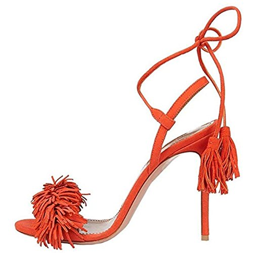 Comfity Heeled Sandals for Women Women's Tassels Sandals Lace Up Slingback Shoes High Heel Dress Sandals 5 M US ()