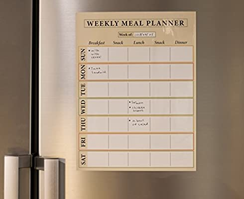 Juvale Dry Erase Weekly Meal Planner - 6-Pack Self-Adhesive Large Weekly Menu Board for Refrigerator, Meals and Snacks Whiteboard, 14.5 x 11 Inches