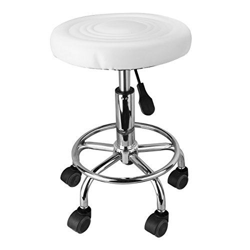 Ridgeyard Adjustable Hydraulic Massage Tattoo Stool Chair with Wheels Facial Spa Salon Dental Swivel Rolling Chair White by Ridgeyard