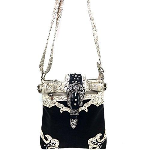 Cross Carry Concealed West Buckle Beige Rhinestone Leather Justin Handbag Purse Studded Messenger Tooled Black Body z5Eqw