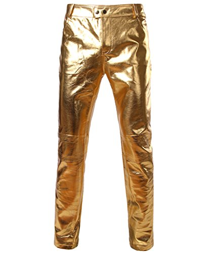 [CIC Collection Men's Shiny Disco Dress Trousers Fashion Metallic Jeans] (Mens Disco Costumes Pants)