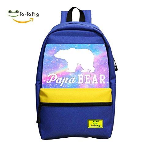 School Backpacks Tie Dye Papa Bear Blue Children Shoulder Bags ()