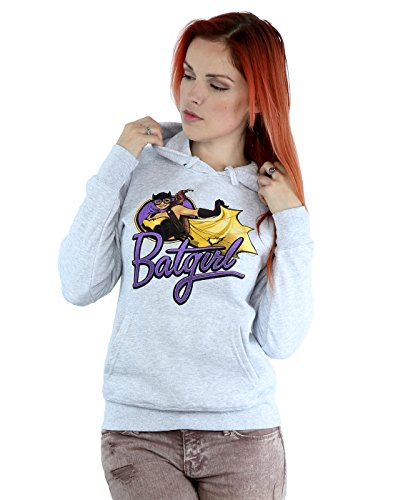 DC Comics Women's Bombshells Batgirl Badge Hoodie Small Heather Grey ()