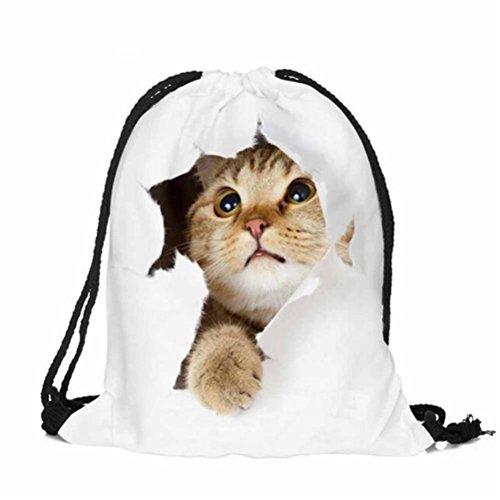 Backpack,Lookatool Fashion Unisex Emoji Backpacks 3D Printing Bags Drawstring packet -