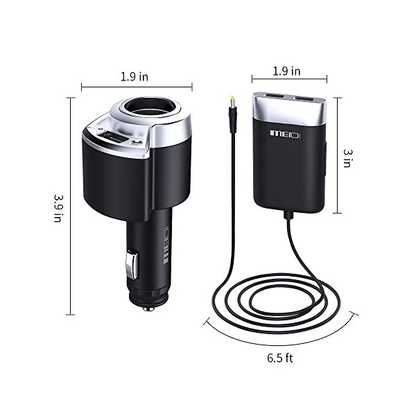 Car Socket MEIDI 40W Car Lighter Splitter And 3 USB Ports Car Charger Adapter Extended 65 Foot Cable For Backseat For Front And Backseat Passengers Charging
