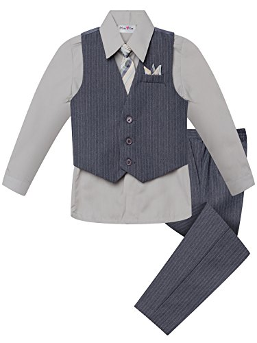 OLIVIA KOO Boy's Colored Shirt Pinstripe 4 Piece Pinstriped Vest Set Size Infant-Boy Gray,X Large / 24 Months ()