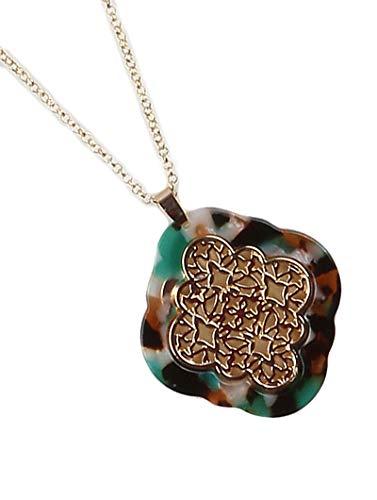 Fashion Jewelry ~ Marble Finish Acrylic Lucite Stone Filigree Pendant Long Necklace Goldtone (Green) (Lucite Pendant)