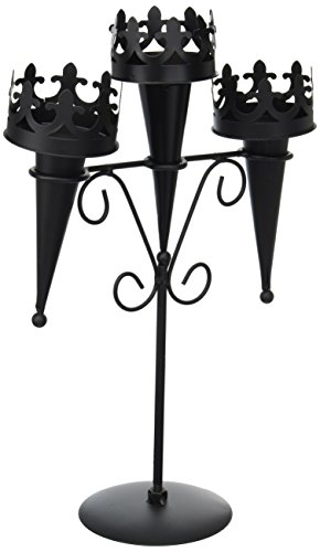 New Medieval Triple Candle Stand Gothic Black Candelabra Table Centerpiece]()