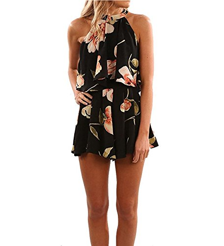 cfc8f0f2ba4 Amazon.com  Assivia Womens Halter Neck Floral Romper Beach Shorts Jumpsuit  Playsuits  Clothing