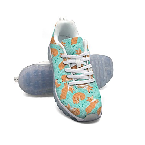 Faaerd Dog Corgi Animal Humor Womens Mesh Traspirante Scarpe Da Corsa Cuscino Daria Casual Walking Sports Outdoor Sneakers