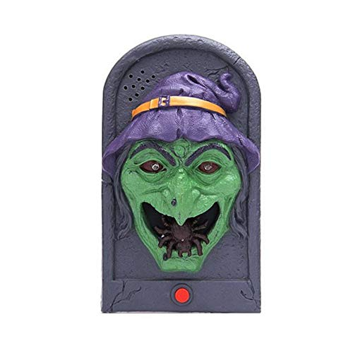 BERTERI Halloween Light Up Eyeball Skull Doorbell Talking Scary Sounds for Party Bar Door Decorations Kids Gift -