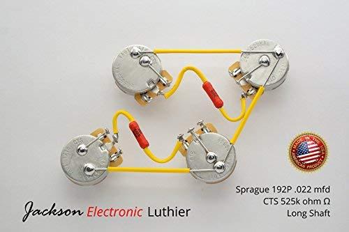 les paul wiring harness kit cts 525k pro long shaft 022 uf nos sprague 192p orange drop (pacer) capacitors  gibson les paul long shaft cts taot