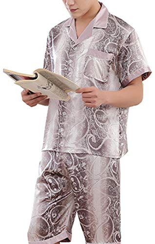 (Respeedime Ice Silk Pajamas for Men Short-Sleeved Sleepwear Pyjamas Loungewear Sleep Set)