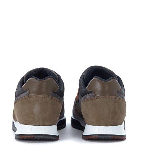 Hogan Sneaker H321 in Suede e nabuk Marrone e Grigia Grigio