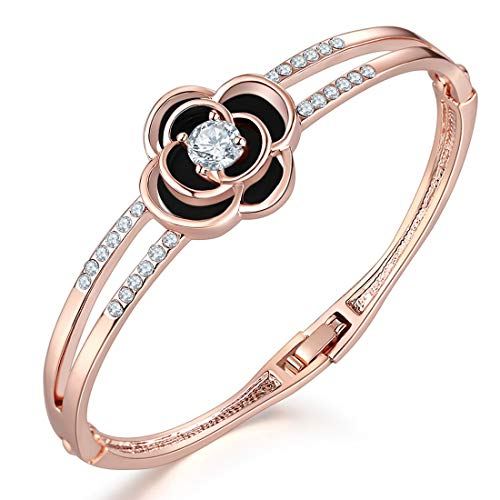 Jewels Galaxy Exclusive Limited Edition Elegant AD Floral Design 18K Rose Gold Plated Adjustable Bracelet for Women/Girls