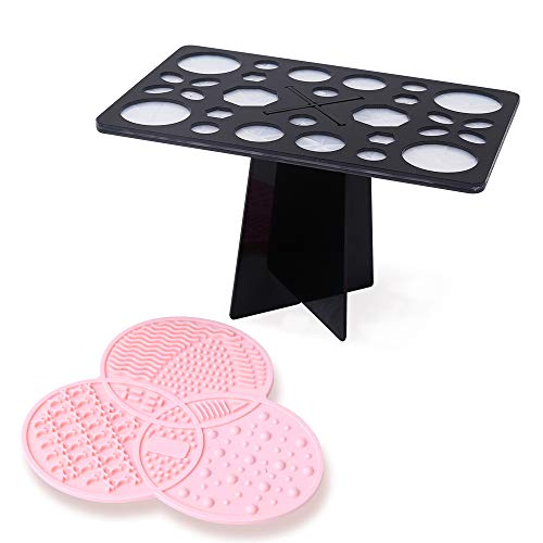 Silicone Makeup Brush Cleaning Mat and Makeup Brush Drying Rack Set - DIOLAN Makeup Brush Cleaner Pad, Cosmetic Brush Cleaning Mat - 28 Holes Makeup Brush Holder, Brush Drying Tower