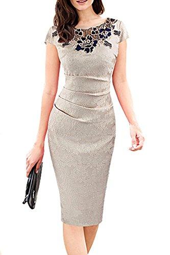 Damen Elegant bestickte figurbetontes Partykleid White cmTI2Flb ...