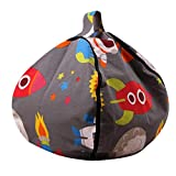 FOONEE Bean Bag Stuffed Animal Storage, Canvas Kids Toys Storage Zipper Bags, Bean Bag Soft Pouch for Toys, Blankets, Covers, Towels, Clothes