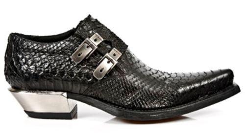 NEWROCK nouveau Rock 7934 2 Python Cuir noir boucle acier ouest Talon chaussures Boot