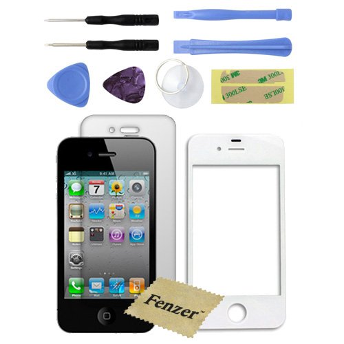 White Replacement Glass Lens Screen for Apple iPhone 4 4G with 8 Piece Tool Kit Screen Protector (Iphone4 Screen Lcd Replacement)