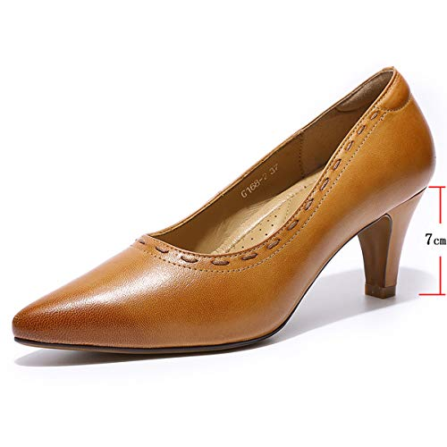 (Mona flying Womens Leather Pumps Dress Shoes Med Heel Pointed Toe High Heels for Women Office Wedding)