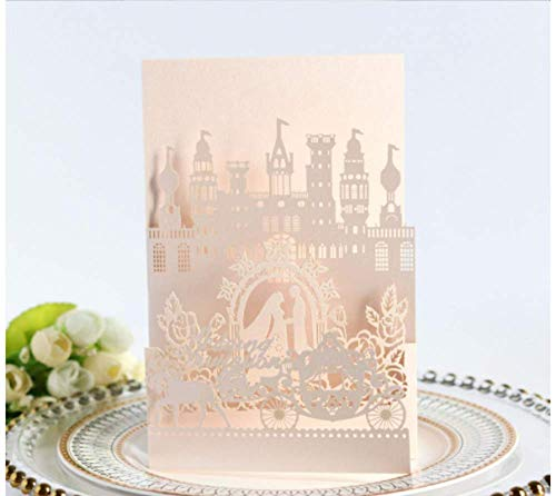 10PCS Card with Belt Light Pink Laser Cut Wedding Invitations Cards Wedding Birthday Engagement Greeting Tksmart from Unknown