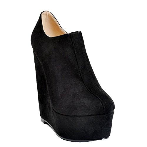 Kolnoo Womens Fashion Handmade 15cm High Wedge Heel Ankle Boot Platform Zipper Party Shoes Boots Black