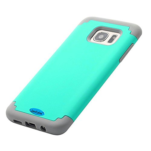 Galaxy S7 Edge Case,JanCalm Hard Soft Rubber Silicone Hybrid Shockproof Bumper Style Slim Fit Dual Layer Protective Cover for Samsung Galaxy S7 Edge (2016) + Crystal Pen (Teal)