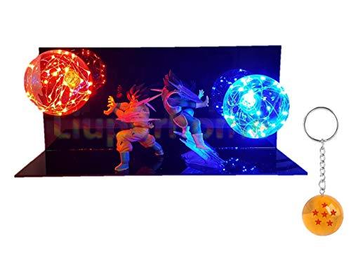 Dragon Ball Z Goku & Vegeta Action Figure LED Light Lamp with Free DBZ Key Chain