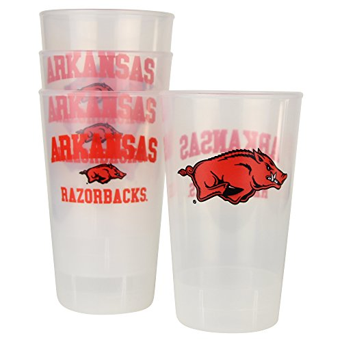 NCAA Frosted Plastic Tailgating Cups, 16oz.(4-Pack) (Arkansas Razorbacks)