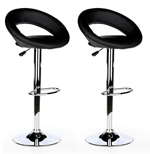 hjh OFFICE 685200 Sgabello da bar RONDO similpelle nero, confezione da due, regolabile in altezza, girevole a 360 gradi, con poggiapiedi, alta qualità, telaio acciaio cromato, massimo comfort, ideale per bar sgabelli; bar
