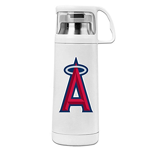 Handson Stainless Steel Vacuum Insulated Insulation Cup Los Angeles Baseball Team Insulated Water Bottle White 14oz/350ml