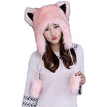 La Moon Trapper Russian Cat Ears Hats [One Size/White/Pink/Gry/ECRU ] Winter Faux Fur