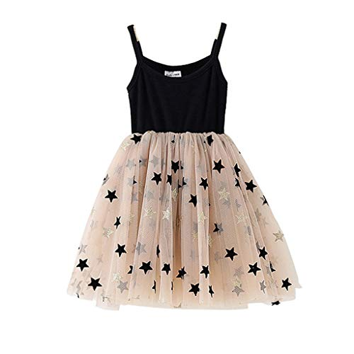 SSZZoo Toddler Kids Baby Girl Dress Strap Splice Star Mesh Tutu Tulle Elegant Casual Clothes (Black, 5-6 Years)