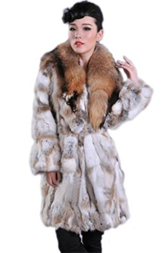 YR Lover Women's Long Natural Rabbit Fur Coat Jacket With...
