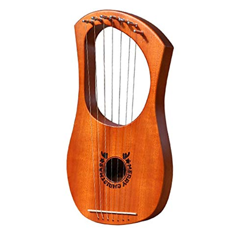 Titanicol Portable Size Natural Wood 7 Strings Lyre Harp Musical Stringed Instruments(Natural Wood)