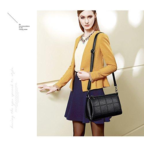 Yoome retro de gran capacidad PU bolsos de cuero para las mujeres funda de hombro funcional Crossbody - púrpura Gris