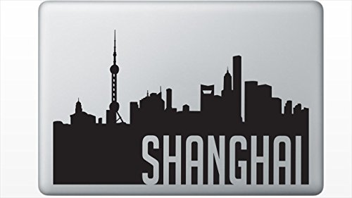 Shanghai China silhouette Decal sticker by Skyline Silhouettes (11 Inches, Black) China Paper Shanghai