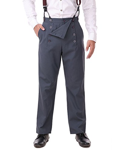 ThePirateDressing Steampunk Victorian Cosplay Costume Architect Men's Pants Trousers C1328 - Grey (Poly Viscose Fabric) - X-Large]()