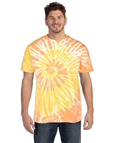 Ribbed Tee Tie Dye (9 Crowns Tie Dye Cotton Hand-Dyed T-Shirt for Men Or Women-Orange-XL)
